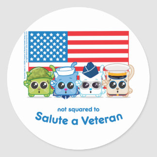 Not Squared to Salute a Veteran Round Sticker