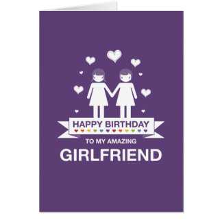Not Straight Design Happy Birthday Girlfriend Card