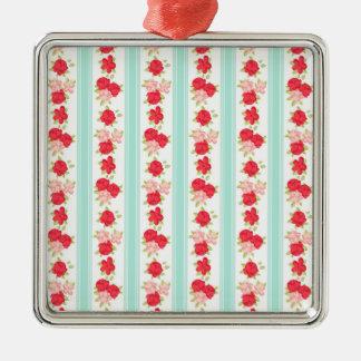 Not Too Shabby Roses Light Blue Stripes Pattern Christmas Ornament