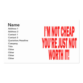 Not Worth It Double-Sided Standard Business Cards (Pack Of 100)