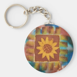 Not Your Granny's Sunflower Quilt Square Key Ring