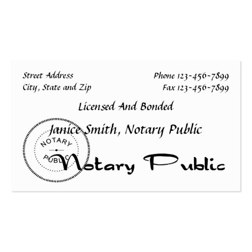 Create your own notary business cards notary public business card reheart Image collections