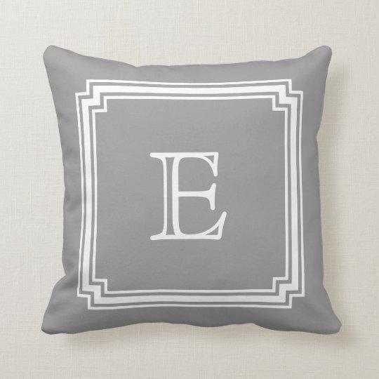 Notched Corner Frame Grey Background Monogram Cushion
