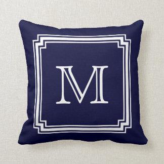 Notched Corner Frame Navy Blue Background Monogram Cushion