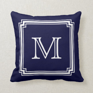 Notched Corner Frame Navy Blue Background Monogram Throw Cushions