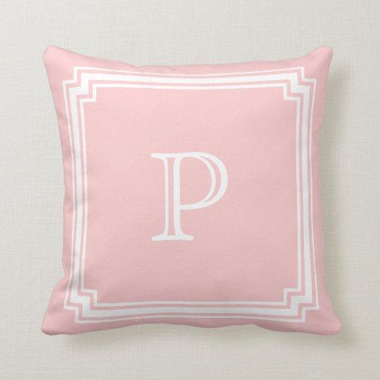 Notched Corner Frame Pink Background Monogram Throw Pillow
