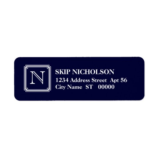 Notched Square Initial Return Address Label, Navy Return Address Label
