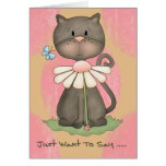 Note Card  -  Just Want To Say Cute Cat Pink