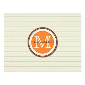 Note Paper Background Orange Monogram Postcard