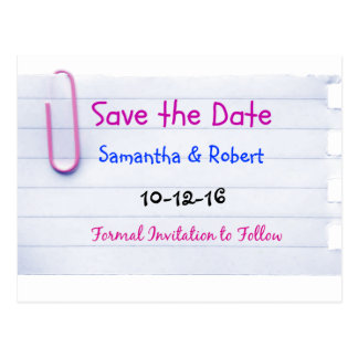 Note Paper Style Handwritte Save the Date Postcard