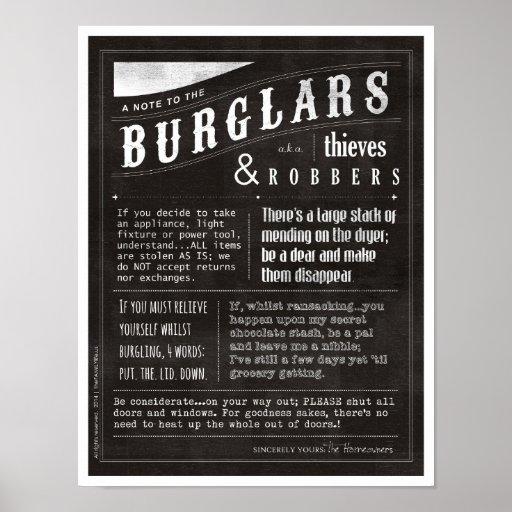 Note to Burglars, Robbers and Thieves Print