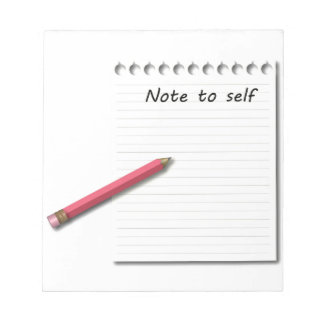 Note to Self paper and pencil