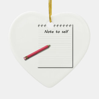 Note to Self paper and pencil Ceramic Heart Decoration