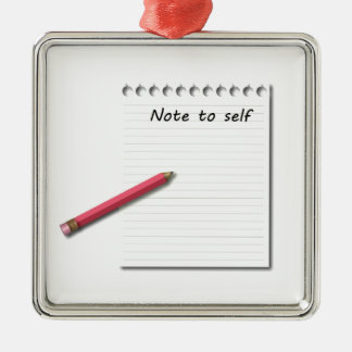 Note to Self paper and pencil Christmas Ornament