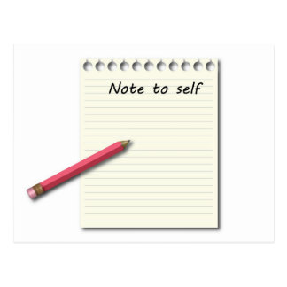 Note to Self paper and pencil Postcard
