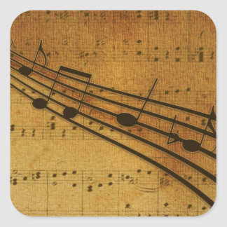 Note vintage style square sticker