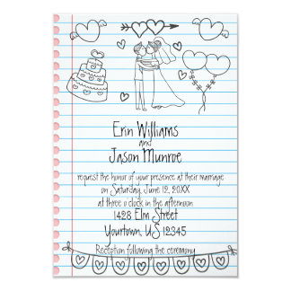 Notebook Doodle Wedding Invitation