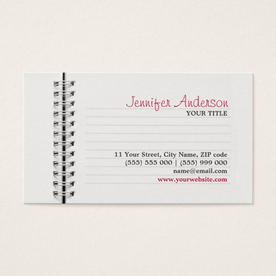 Notebook Page Education business card