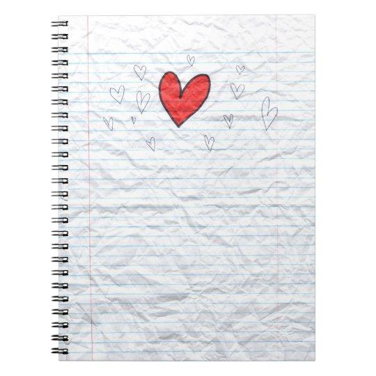 Notebook paper heart