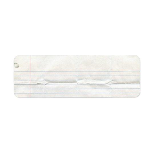 Notebook Paper Label Return Address Label