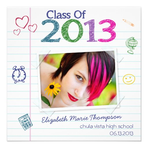 Notebook Paper Scribble Graduation Announcements