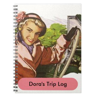 Notebook Retro Road Trip Travel Log Journal