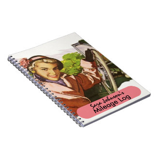 Notebook Retro Road Trip Travel Mileage Log