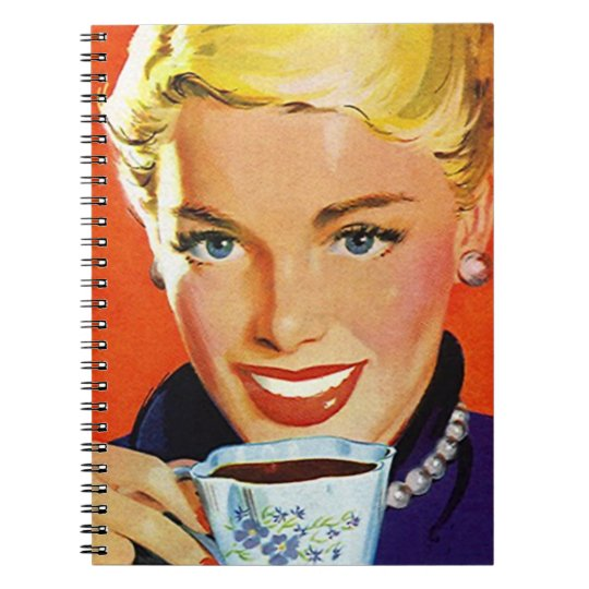 Notebook Vintage Day Planner Organised Coffee Lady