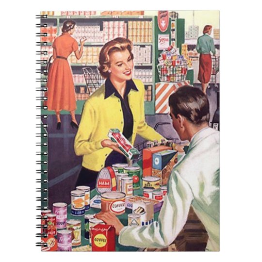 Notebook Vintage Retro Busy Lady Shopping Suburbia