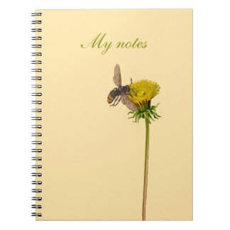 Notebook with flower design - Dandelion and bee