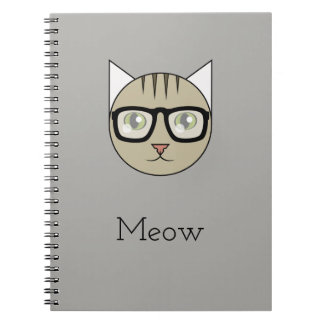 Notebook with Glasses-Wearing Brown Tabby's Face