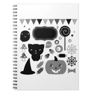 Notebook with happy halloween Ghosts
