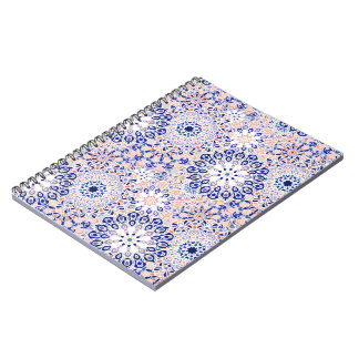 Notebook with Mandala Floral Pattern Print