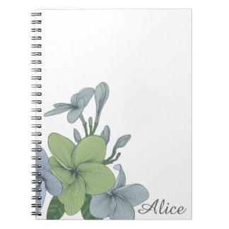 Notebooks Blue & light green exotic flowers