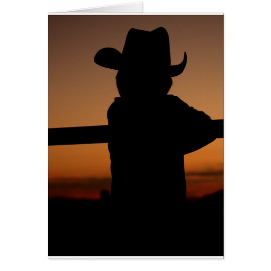 Notecard 'Lil Cowboy Silhouette Sunset