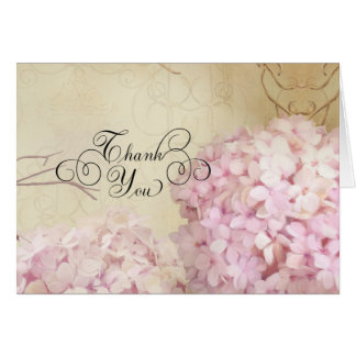 Notecard Thank You Notes Blush Pink Hydrangea Art