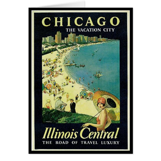 Notecard-Vintage Chicago Travel Art-2 Card