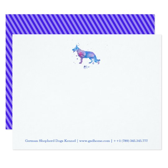 Notecards German Shepherd Watercolor Blue