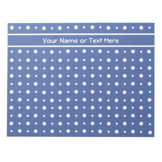 Notepad or Jotter, Dark Blue with White Polka Dots