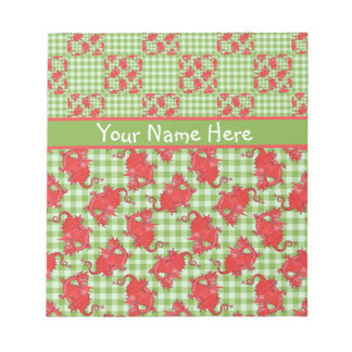 Notepad or Jotter to Personalize: Cute Red Dragons