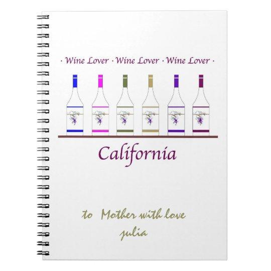 notepad, wine lover, spiral notebook