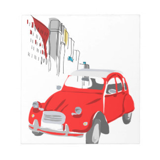 Notepad with Citroen 2 CV Illustration