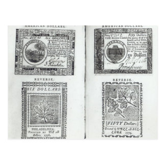 Notes of the Continental Currency Postcard