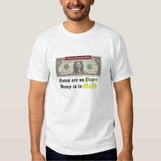Notes On Paper Money In Gold Tee Shirt