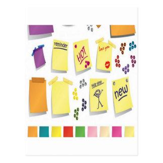 Notes set design postcard