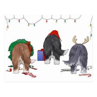Nothin' Butt A Beardie Christmas Postcard