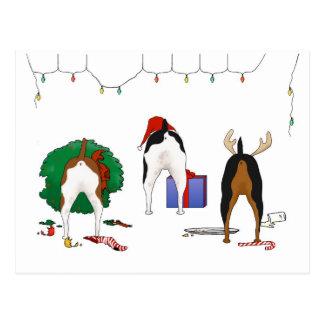 Nothin' Butt A Rat Terrier Christmas Postcard