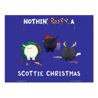 Nothin' Butt A Scottie Christmas Postcard