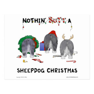 Nothin' Butt A Sheepdog Christmas Postcard