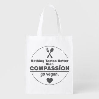 Nothing Tastes Better Than Compassion Go Vegan Reusable Grocery Bag